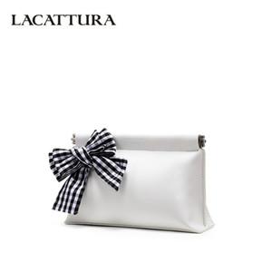 LACATTURA femmes noir et blanc Plaid Bow embrayage Sacs à rabat Lady Petit sac haute capacité bourse blanc