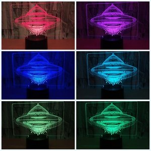 Led 3D Flying Saucer Night Light Ufo Forma Siete Colores Touch Remote Control Alien Spacecraf Avión Lámpara Niño Cumpleaños Luces 25zy ff