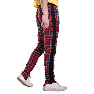 men's casual pants High street men plaid pants side stripe zipper slim fit sweatpants mens fashion streetwear trousers