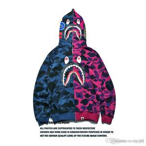 Hommes requin bouche coutures veste Camouflage cardigan manches longues Hip hop lâche capuche nouveau style gros