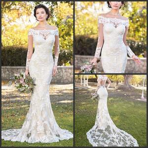 Modest Kitty Chen sereia vestidos de casamento manga comprida 2018 New Full Lace Applique vestidos de noiva fora do ombro tribunal vestido de casamento de trem