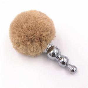 Anal Plug Big Rabbit Tail Anal Beads Acero inoxidable Butt Plug Gray Plush Tail Ball Anal Dilator Juguetes sexuales para mujeres Regalo H8-1-62F