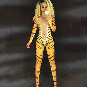 Cristais Tiger Leopard Outfit Cantor Bodysuit Dancer Nightclub Cosplay desempenho elástico Pole Dance Sexy Mulheres Jumpsuit DJ176