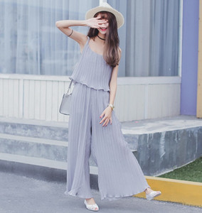plus big size women clothing 2017 summer style korean Bohemian beach loose chiffon Jumpsuits sling thin culottes women A0158