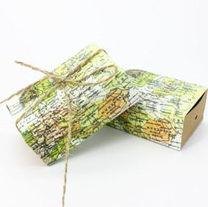 Scatole di caramelle di carta Kraft d'epoca intorno al mondo Mappa Contenitori di regali a tema in viaggio Bomboniere per feste Forniture per feste