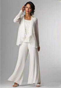 Fildişi Beyaz Şifon Anne Gelin Elbiseler Anne Pantolon Takım Elbise Anne Gelin Pant Suits Ceket Kadın Parti Elbiseler Pantolon Suits