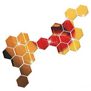 No tóxico Cristal 3D Espejo Superficie Paredes Etiqueta Hexagonal Metope Honeycomb Decorate For Home Fashion Decor Pared Novedad Arte 0 08nj ZZ