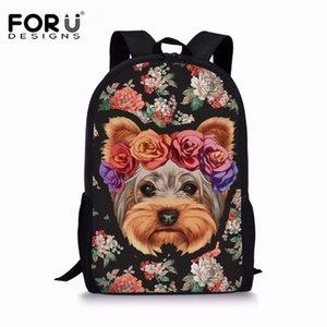 FORUDESIGNS 2018 Bolsas New Yorkshire Terrier Impresso Backpack escola para meninas Mochilas escolares para adolescentes Softback Bagpack Satchel