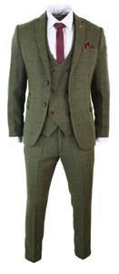NOVITÀ Verde oliva 3 pezzi Abito da uomo in tweed Giacca attillata Smoking su misura Abiti da sposo Abiti da sposa di alta qualità (Giacca + Pantaloni + Gilet)