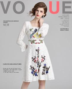 تنورة الدانتيل النسائية ، فساتين تطريز الجمال ، مثير Aquare الرقبة سيدة والفتيات فستان ، كم 3/4 طول