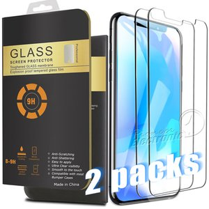 2-Pack für 2021 NEW Iphone 12 Mini-11 PRO MAX XR XS MAX 8 7 PLUS X Displayschutz Ausgeglichenes Glas für Samsung S8 0.26mm 2.5D Gerundeter Rand