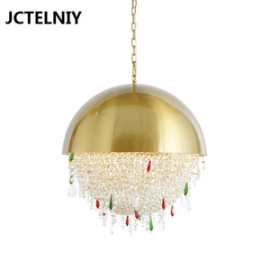 American light luxury crystal living room LED chandelier art crystal bed bedroom gold / chrome chandelier