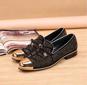Trend Hochzeitskleid Schuhe heißes Bohren Casual Schuhe Männer Designer Männer Business Schuhe Smoking Slipper US-Größe: 6,5-12