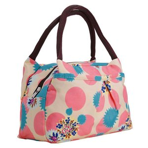 LJL Print Women Handbags Lunch Bag Tote (Pink Circles)