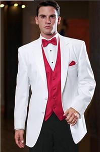 Hot Sale Classic White 3 Piece Suit Notch Lapel Two Button Men Wedding Tuxedos Men Business Prom Dinner Blazer(Jacket+Pants+Tie+Vest) 454