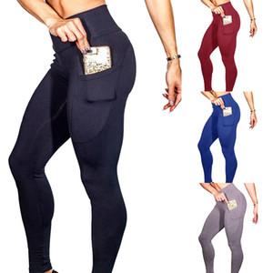 LASPERAL Leggins da allenamento Leggings sottili da allenamento da un lato Pantaloni tascabili da cellulare a vita alta Pantaloni gotici a vita alta 2018