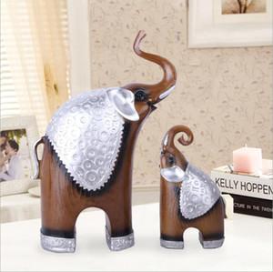 Figuras de elefante Resina Estatua Accesorios de decoración Sala de estar TV Gabinete Hogar Animal Pareja Artesanía Decoración Recuerdos Artesanía