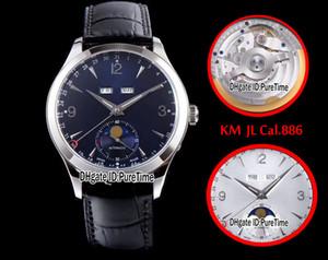 Nuevo KM Best Edition Master Calendar 1558420 Caja de acero Dial negro ETA Cal.886 Reloj para hombre automático Puretime (fase lunar correcta) JL3