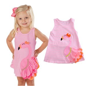 Лето девочка одежда Sleevless платья Лебедь сарафан малыша милые дети одежда Vestidos полосатый животных платье бутик наряды 0-5Y