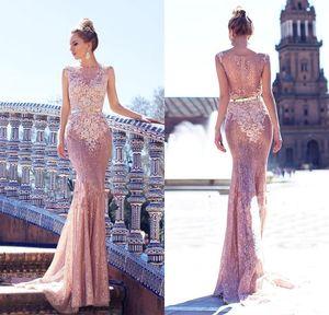 2018 lindo Pink Rose Lace Mermaid Prom Vestidos Appliqued mangas até o chão Prom Dresses Evening Wear Pageant Vestidos BA8330