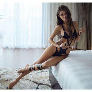 Sexy Black PU Leather Bandage Lingerie Temptation Bikini Underwear Set with Leg Bandages Handcuff Novelty Sexual Abuse Appeal