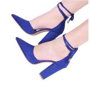 Style d'été Faux Suede Lace-Up Block Talons Chaussures Sexy Bout Toe Femmes Pompes Strap Cheville Talons Hauts Chaussures