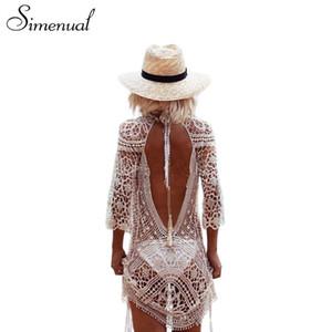 Simenual Sin espalda recorte verano encaje vestidos de playa damas 2018 casual nuevo ahueca hacia fuera sexy caliente vestido de mujer blanco pareos traje de baño
