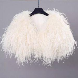 Elegante pluma de la avestruz piel blanca capa de la chaqueta nupcial de la boda Bolero Para formal Chales novia de la boda Envolturas cabo de la piel formal del partido de tarde