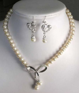 Details about 7-8mm Genuine White Akoya Cultured Pearl Pendant Necklace & earrings 18''