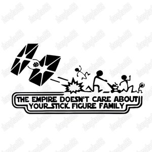 Empire Does not Care letters funny cartoon style auto decal car sticker ca-377