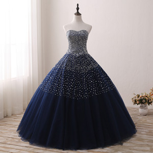 Shiny Crystal Beaded Sequins Quinceanera Dresses Ball Gowns 2018 Fluffy Navy Blue Long Sweet 15 16 Dresses for Prom vestidos para debutante