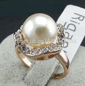 Бесплатный корабль новый белый/розовое золото GP Кристалл большой жемчуг обручальное кольцо размер 6,7,8,9