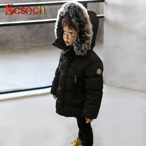 Новая мода детские мальчики куртки меховой воротник Осень Зима куртка дети теплый с капюшоном дети верхняя одежда пальто мальчики девочки одежда SSA36