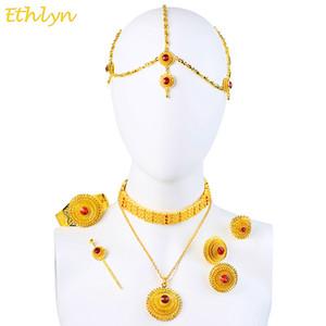 Toda vendaEthlyn Luxo Etíope Eritreia Tradicional Jóias Gargantilha Conjuntos Conjuntos de Jóias de Casamento de Pedra de Cor do Ouro Das Mulheres S097