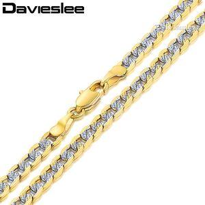 Davieslee رجل إمرأة قلادة الذهب الأصفر مملوءة سلسلة كبح الكوبي رابط الهيب هوب الجملة قلادة مجوهرات 4 ملليمتر LGN64