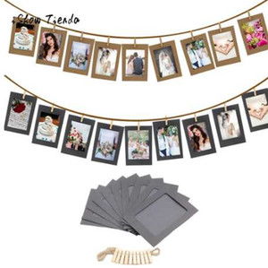 10 Unids 3 Pulgadas de Papel Foto Flim DIY Pared Cuadro Colgante Álbum + Cuerda + Clips Set Decoración de Regalo Decoración de Eventos Album Photo Props