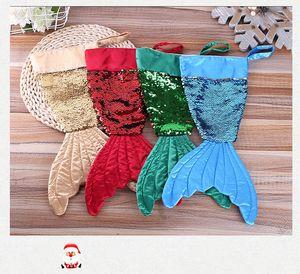 Mermaid Natale Calze regalo di Natale Borse 16 pollici Xmas Candy Bags Babbo Natale Calze Decorazioni Albero di Natale per feste XX