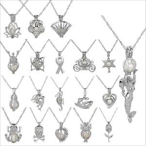 оптовая новая любовь Желания естественной перлы Клетка ожерелье с Oyster Pearl Mix Дизайн Мода полые Locket ключицы цепи ожерелье