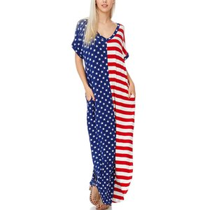 Time - smart maxi dress American flag printed v - neck short sleeve high waist pocket long dress 610127