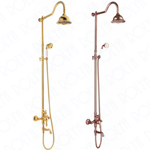 Rolya Luxury Rose Golden / Chrome Exposed Bathroom Shower Set
