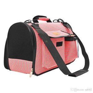 Plegable bolso del animal doméstico de la raya patrón de punto redondo perro portador de ventilación bolso del perrito para el recorrido al aire libre solo hombro 33za2 ii