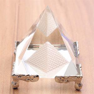 Pyramide en verre cristal d'énergie avec support en or Feng shui Egypte figurines égyptiennes miniatures ornements artisanat