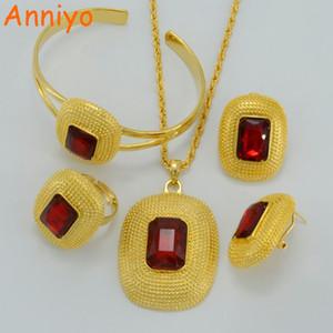 Anniyo Ethiopian Schmuck Sets Halsketten / Ohrclips / Ring / Armreif Gold Farbe Afrika Braut Hochzeit Habesha Eritrea Geschenk # 000416