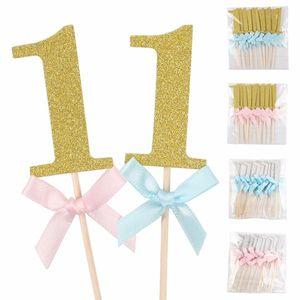 10PCS / 세트 첫 번째 생일 컵케익 Toppers 소년 소녀 1 년 파티 케이크 장식 음식 픽업 베이비 샤워 파티 장식