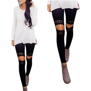 Dantel Dikiş Pantolon Tayt Streetwear RF0869 Leaking Sevimli Yüksek Waisted Siyah Tayt Yoga Pantolon Kadınlar Kızlar Esnekliği Diz
