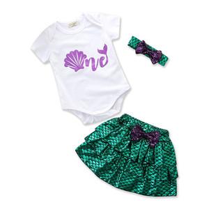 Crianças Mermaid outfits baby bow headband + shell impressão romper + escamas de Peixe saias 3 pçs / set 2018 terno verão Boutique crianças Conjuntos de Roupas C3913