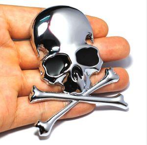 7.2x6CM 3D 금속 두개골 해골 이미지 자동차 오토바이 스티커 트럭 라벨 엠 블 럼 배지 스타일링 장식 액세서리