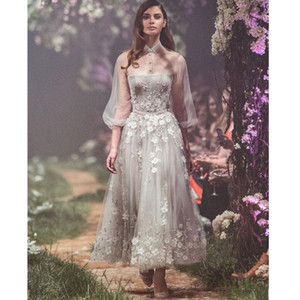 2018 Paolo Sebastian Sequined Prom Dresses With Long Sleeves Sheer High Neck Evening Gowns Ankle Length Vestidos De Fiesta Formal Dress