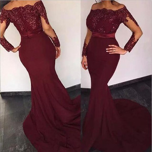 2018 New Cheap Bridesmaid Dresses Off Shoulder Wedding Guest Wear Mermaid Long Sleeves Burgundy Floor Length Party Dress Maid of Guest Gowns