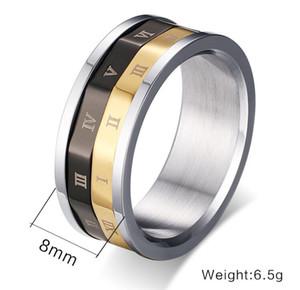 Рим пароль кольца размер 6-12 вращающийся кольцо Колесо времени мужские ювелирные аксессуары бесплатная доставка